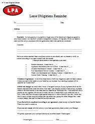 Lease Obligations Reminder Notice To Tenant At Essential Landlord