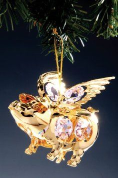 Swarovski Crystal and Gold When Pigs Fly Ornament