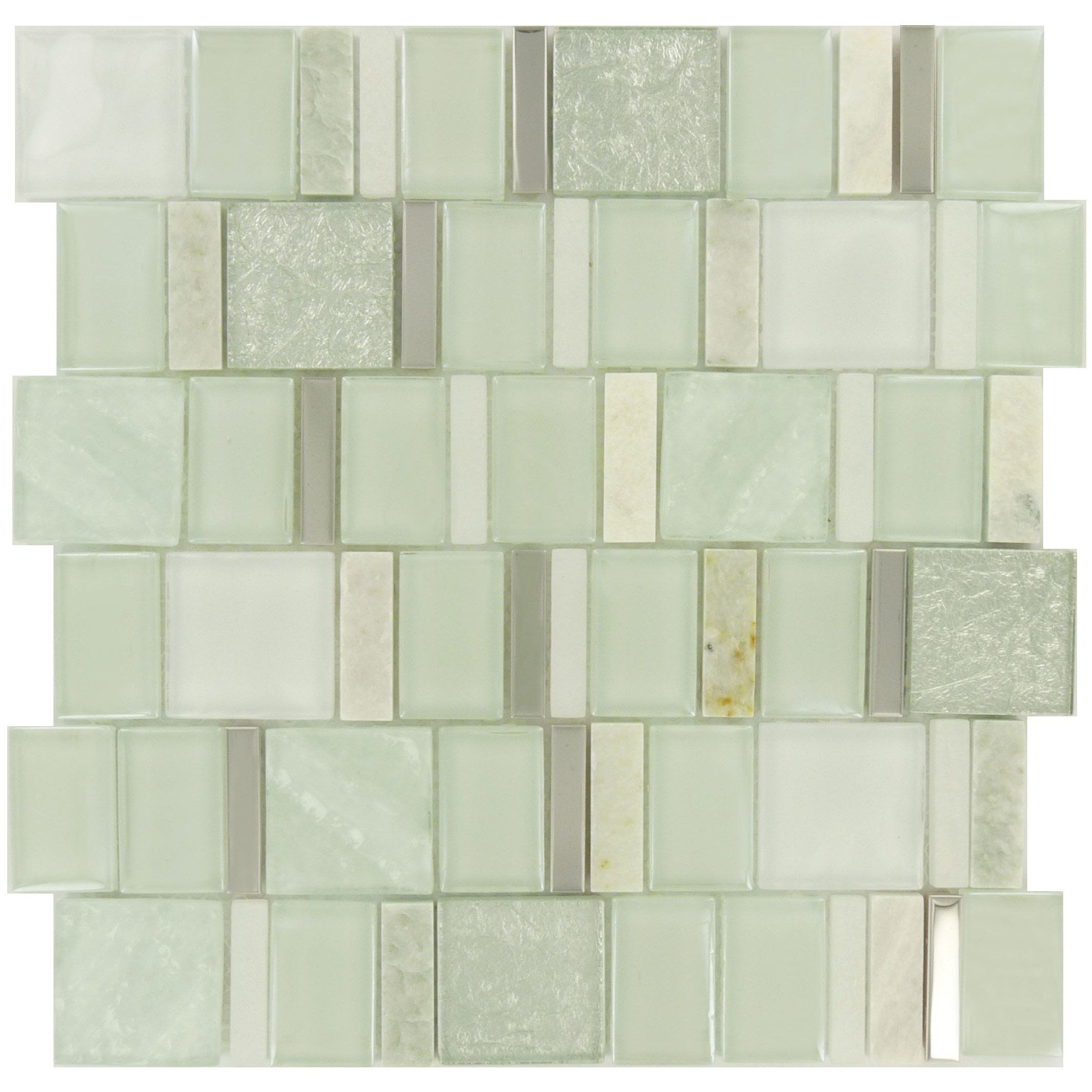 "Pine Green Unique Shapes ""Glass Stone & Metal"" Glossy & Matte Tile"