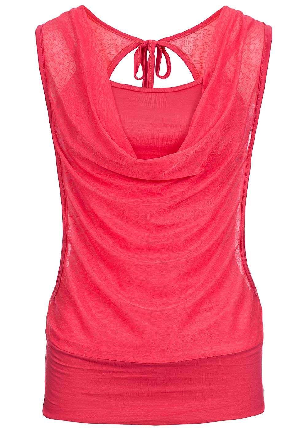 c68d192d882184 Styleboom Fashion Damen 2in1 Top Wasserfall Ausschnitt coral pink -  77onlineshop