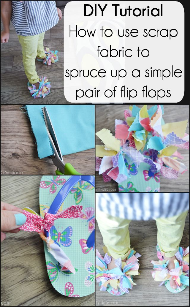 85e261c1a297a1 A fun tutorial on how to jazz up inexpensive flip flops with just some  scrap fabric