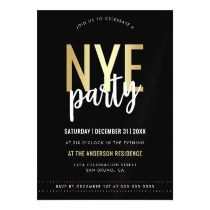 Black White Amp Gold New Years Eve Party Invitation Invitations Personalize Custom Spec New Years Eve Invitations Party Invitations Diy New Years Eve Party