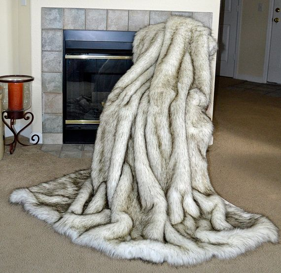 White Husky Faux Fur Fake Fur Blanket By Cindyheitkampdesigns