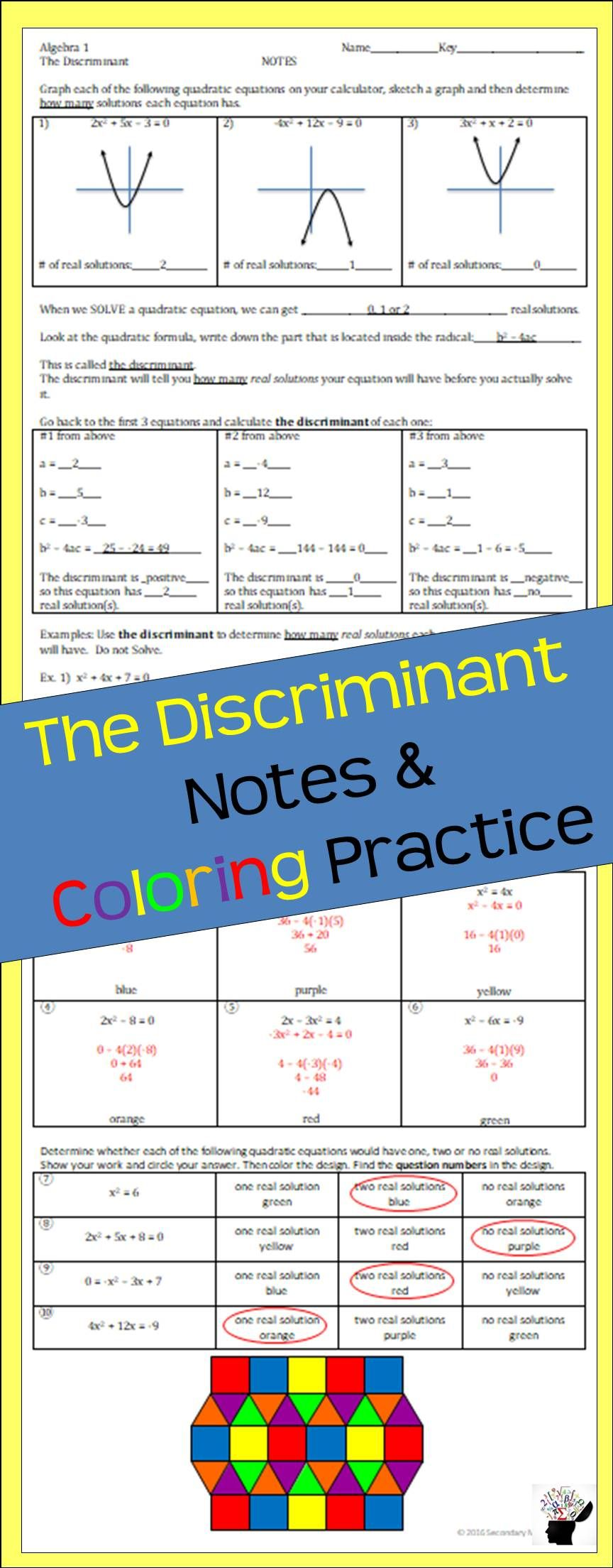 The Discriminant Notes & Coloring Practice   Math