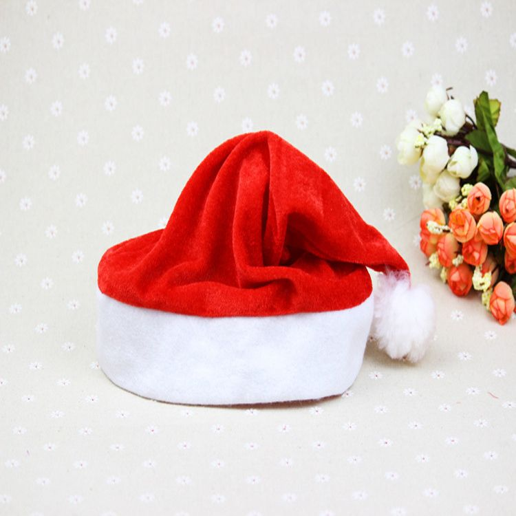 thick plush santa hat promotion christmas santa claus hat