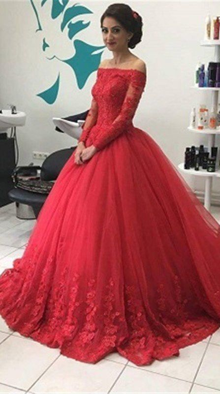 80ed676ea1b Red Long Sleeves Off-the-Shoulder Lace Natural Ball Gown Tulle Prom Dresses  2017