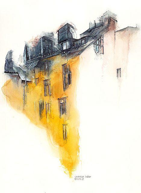 Stockholm Sweden Watercolor Architecture Watercolor