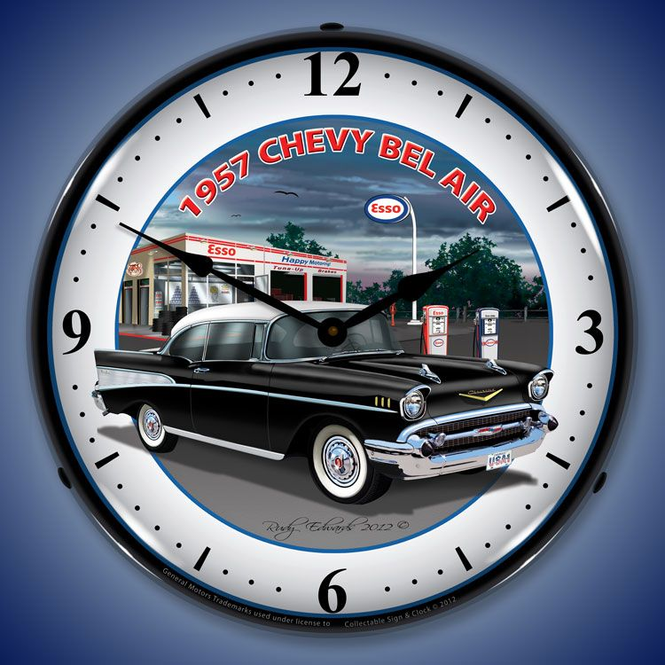 1950s Chevy Bel Air Wall Clocks Lighted 1950 1959 1957 Chevys Wall Clock Light Chevy Bel Air 1957 Chevy Bel Air