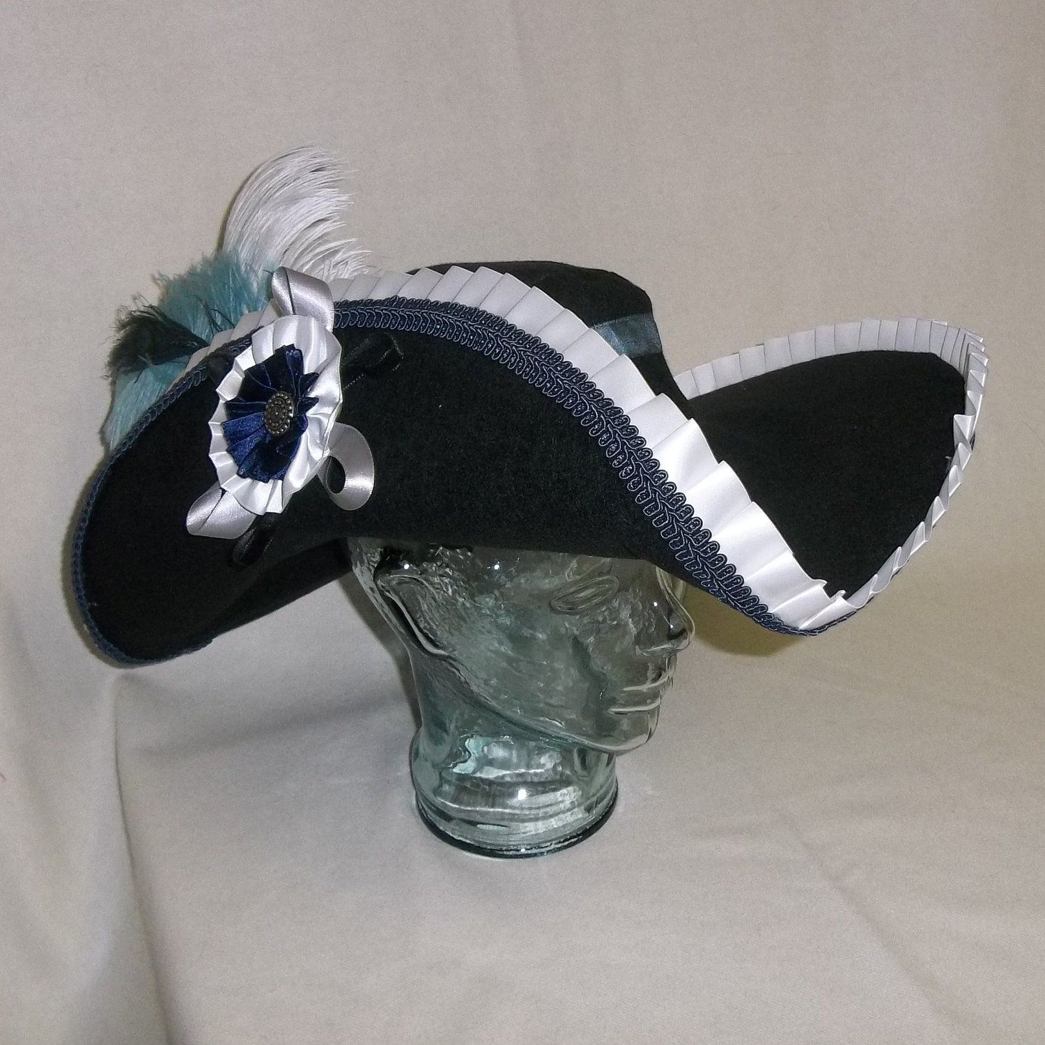 793a61f7111 Deluxe Musketeer Hat- Cavalier Style with Blue and White Trim and Feathers