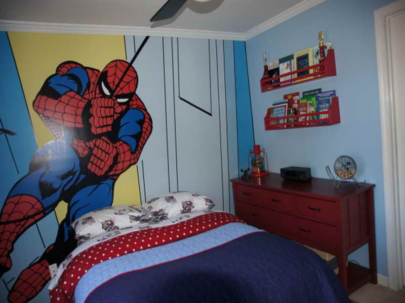 Spiderman wall kids bedroom paint ideas ashton for Paint colors for kids bedrooms
