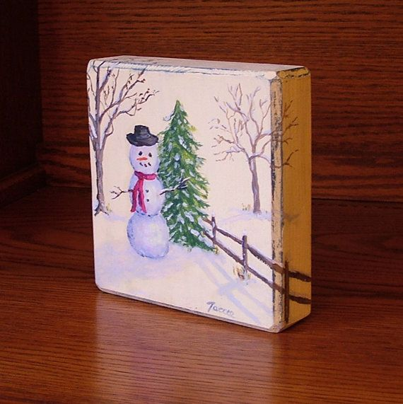 Snowman Painting Winter Primitive Holiday Decor Christmas On Wood Miniature Art Small