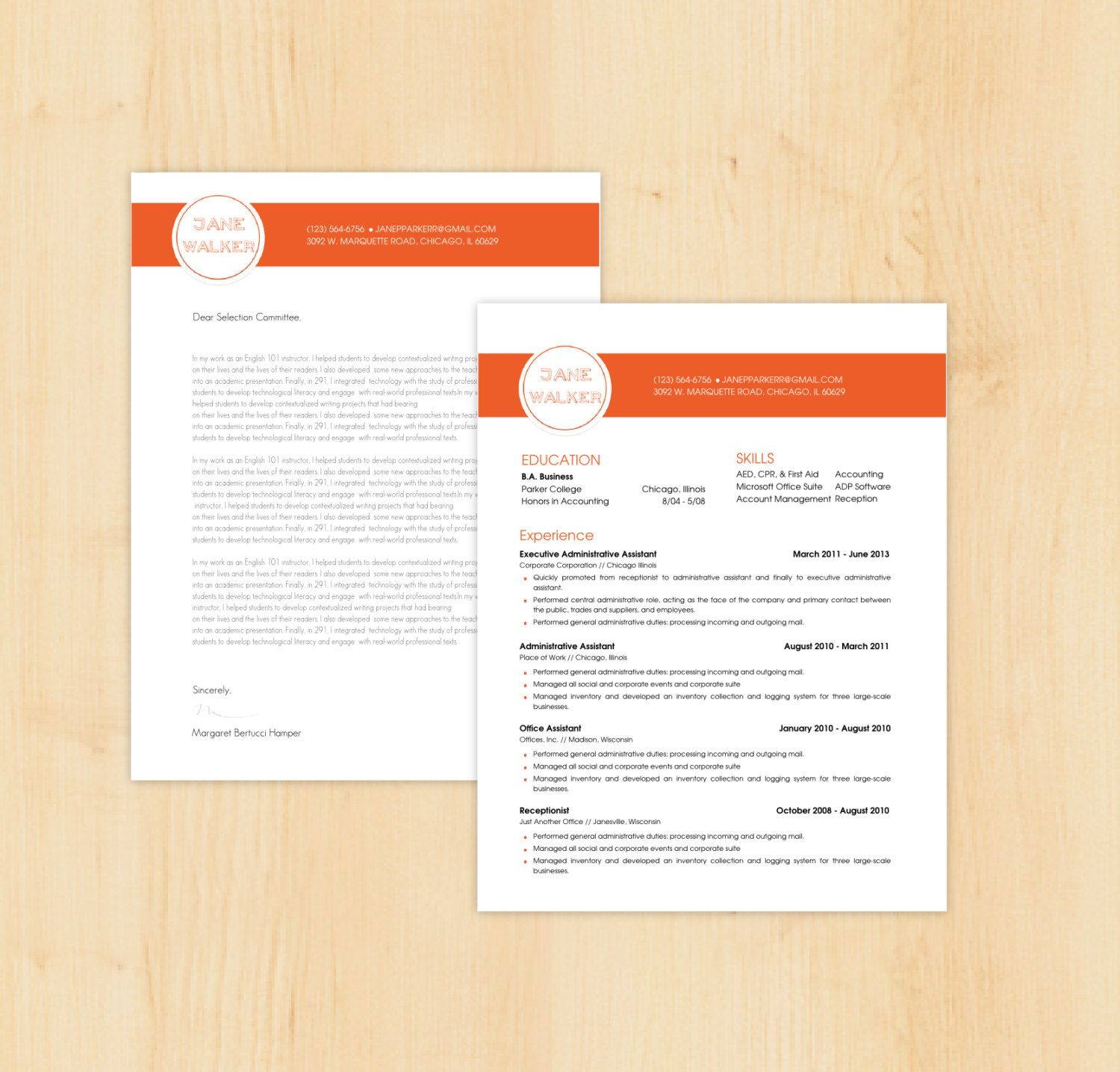 Resume Template Cover Letter Template The Sara By Phdpress: Resume Template / Cover Letter Template The Jane By
