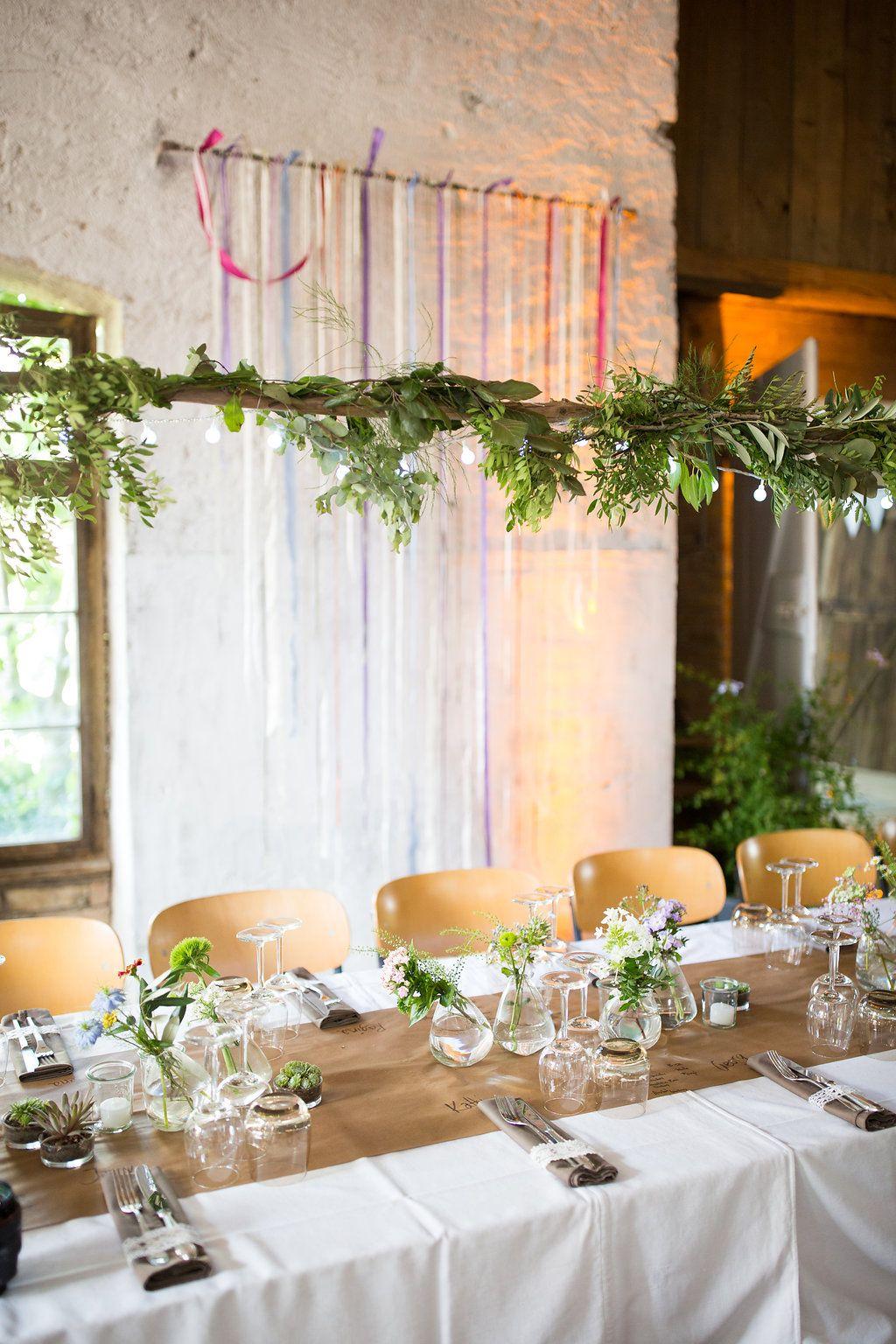 Rustikale Greenery Deko  Tischdekoration Hochzeit I