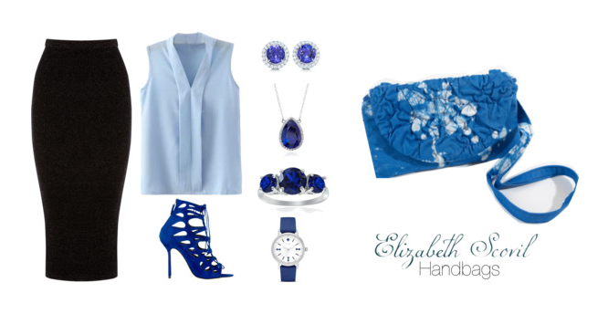Casual outfit for when you are feeling blue.... #ElizabethScovilHandbag
