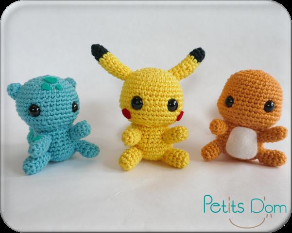 Amigurumi Patterns Pikachu : Pikachu salamèche et bulbizarre patrons de 53 stitches mes