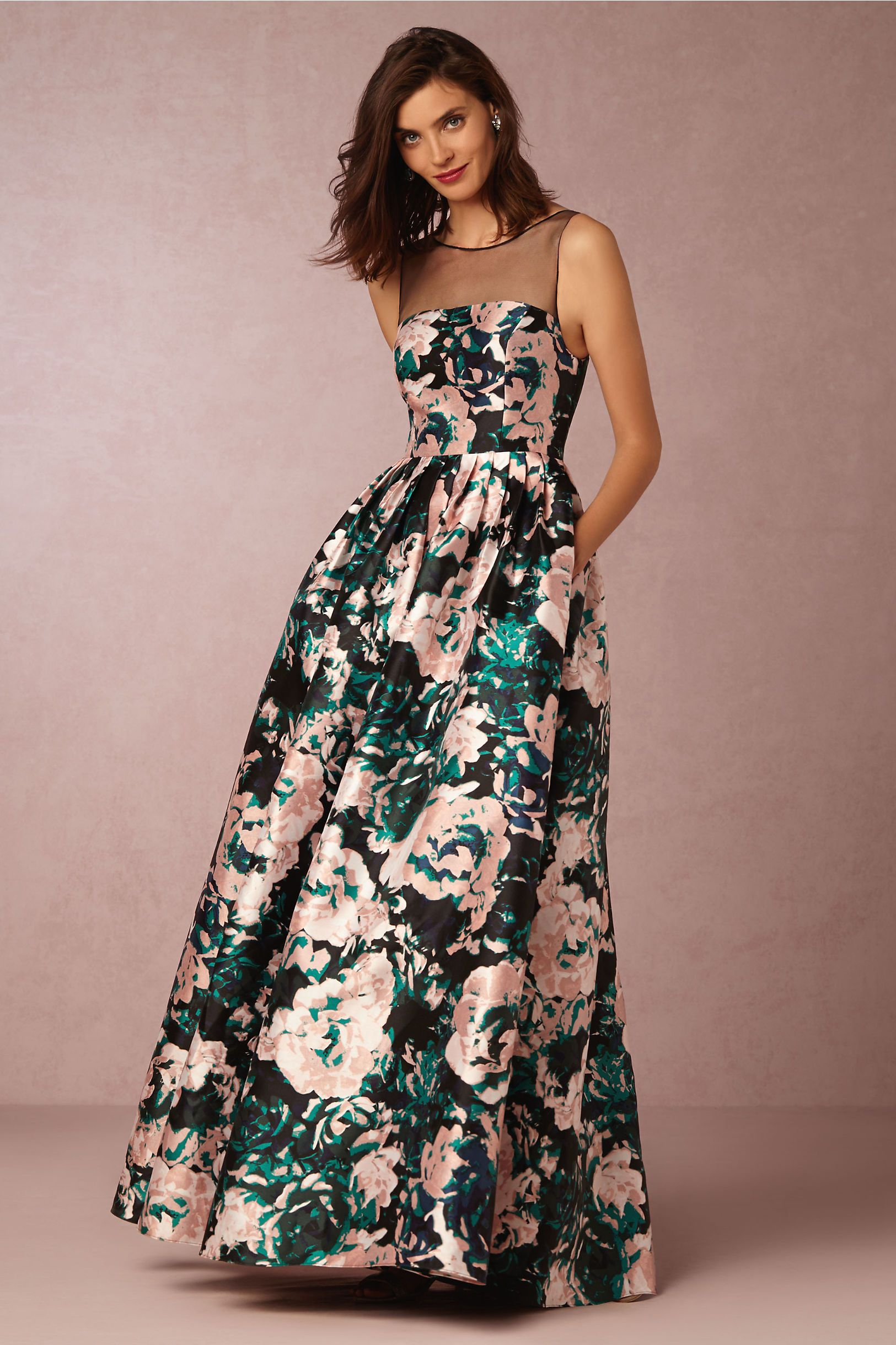 Floral black tie dress cora ball gown from bhldn for Black floral dress to a wedding