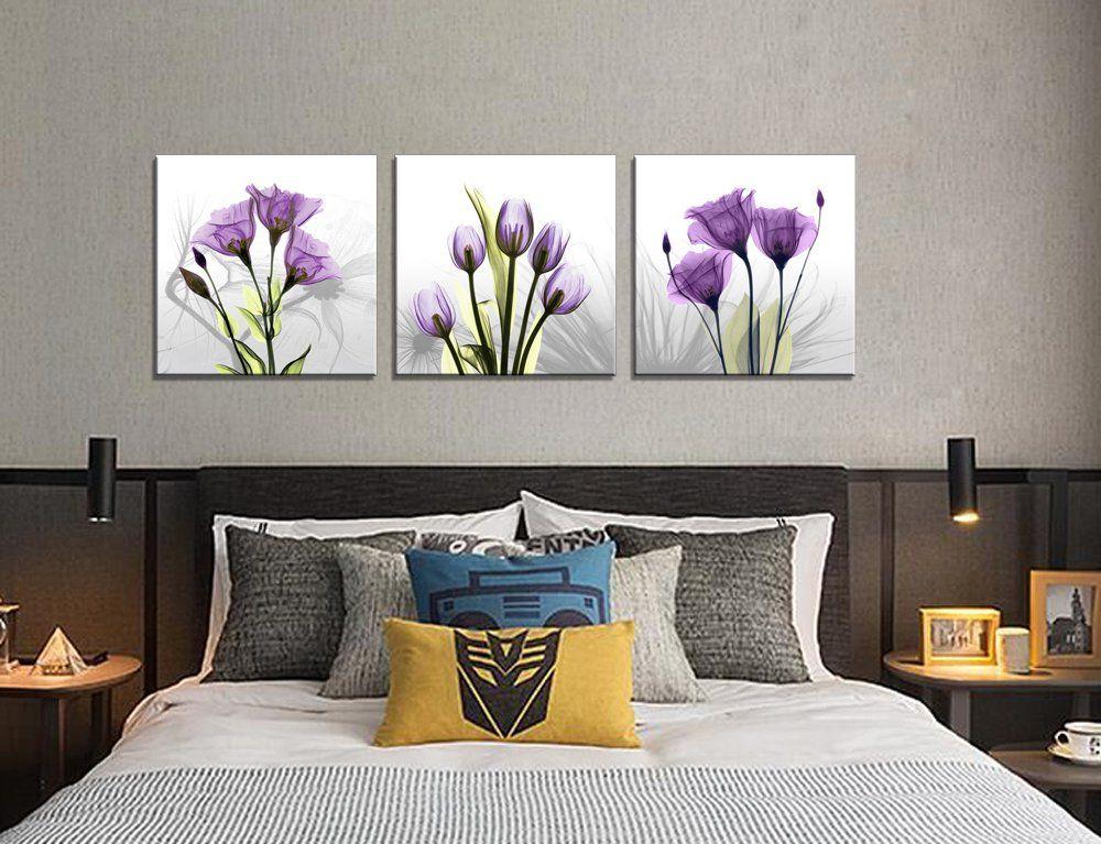 Moyedecor art 3 panel elegant tulip flower canvas print