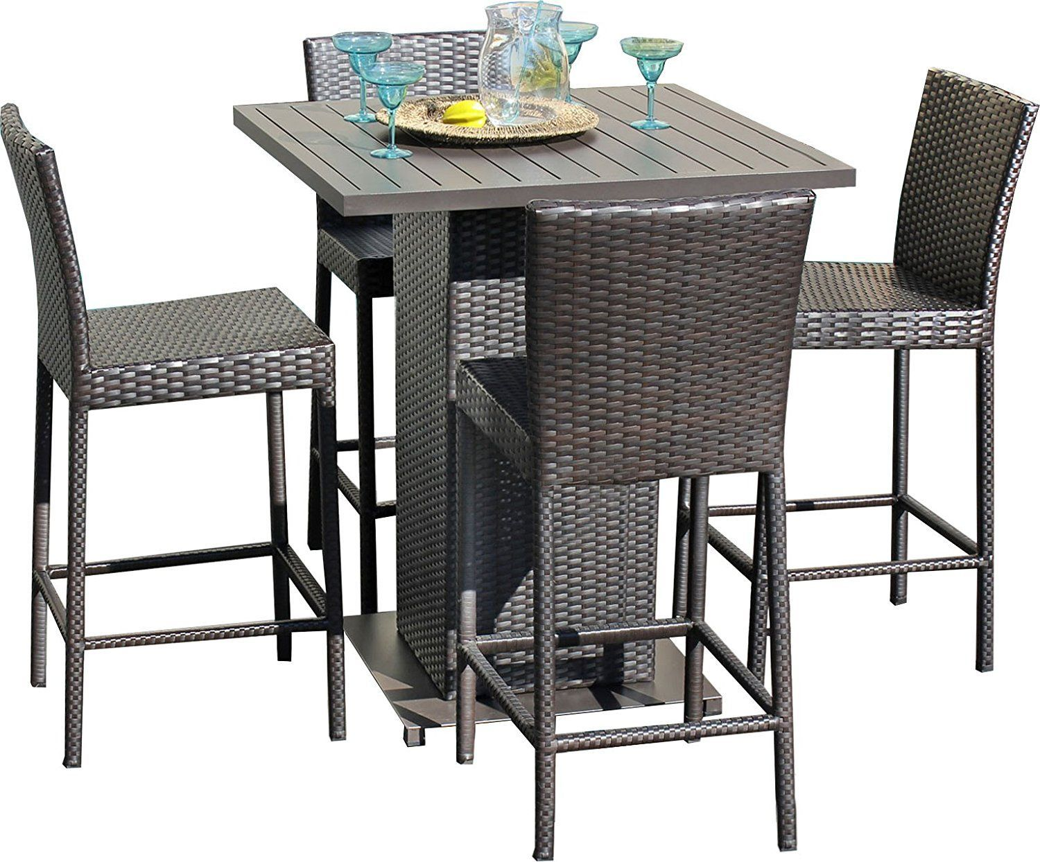 Napa Pub High Top Barstool Wicker Dining Set Outdoor Pub Table