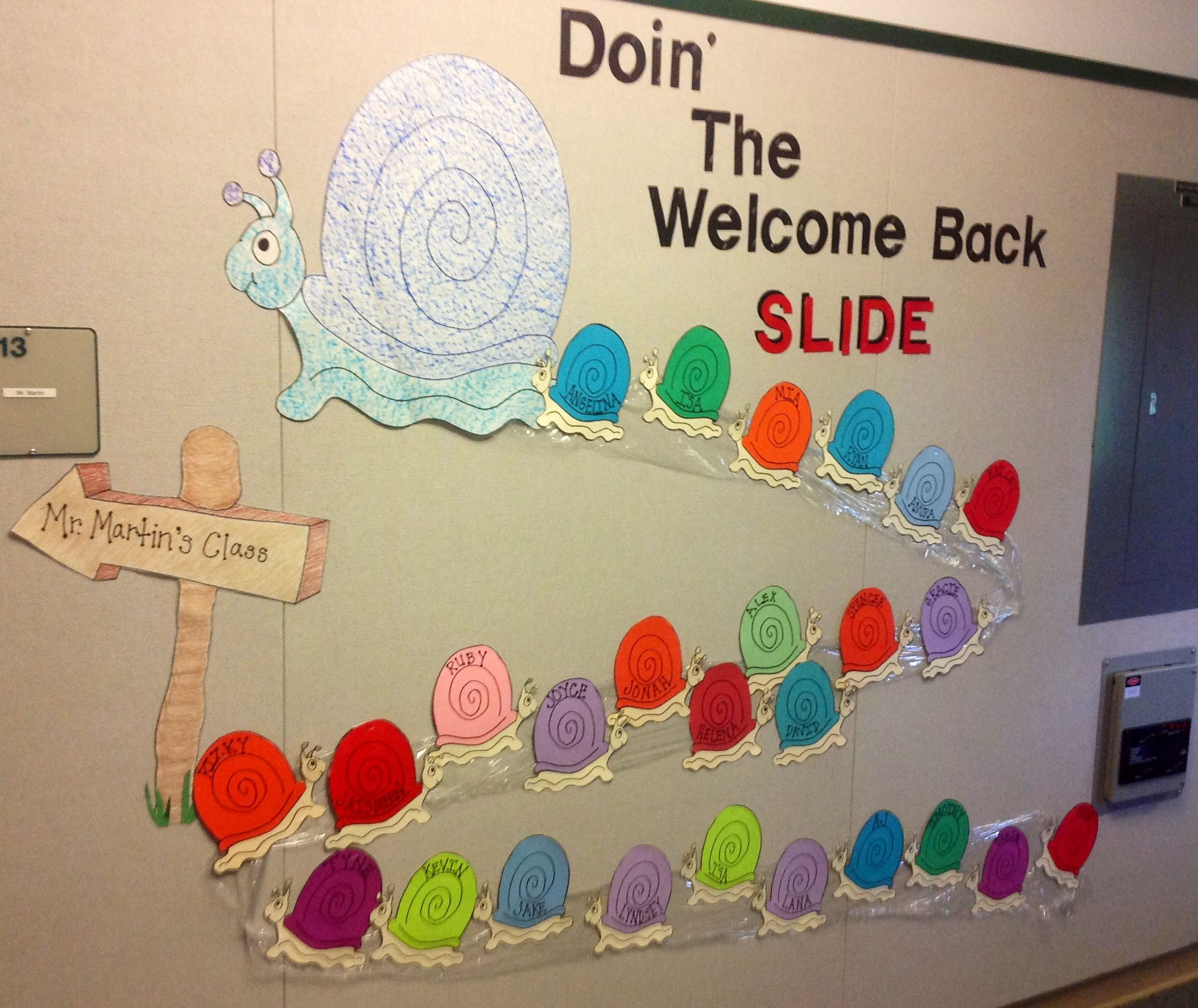 Welcome Back Snail Themed Bulletin Board