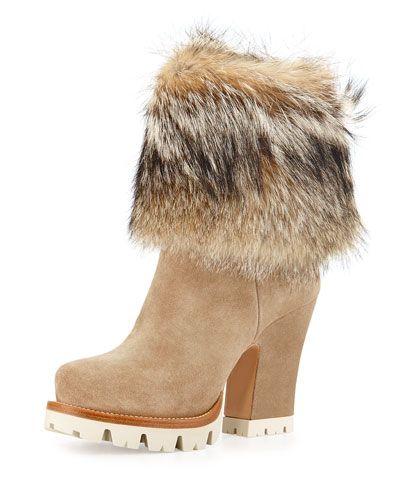 Prada Suede Fur Cuff Mid Calf Boot Deserto