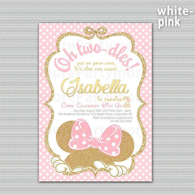Rosa Y Oro Minnie Mouse Cumpleaños Fiesta Invitación Primer