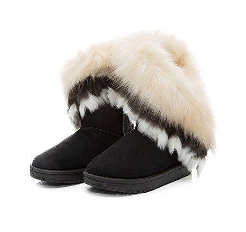 de85fc4a4e280d Jenssa Womens Soft Faux Fox Fur Tassel Winter Shoes Snow Boots 85 Black