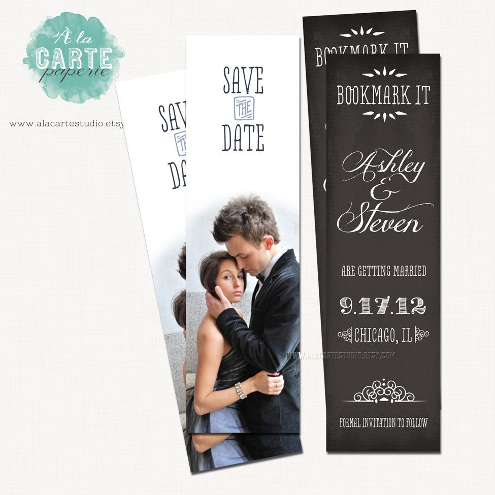 Save The Date Bookmark Chalkboard Vintage Wedding Rustic 5 00 Via Etsy