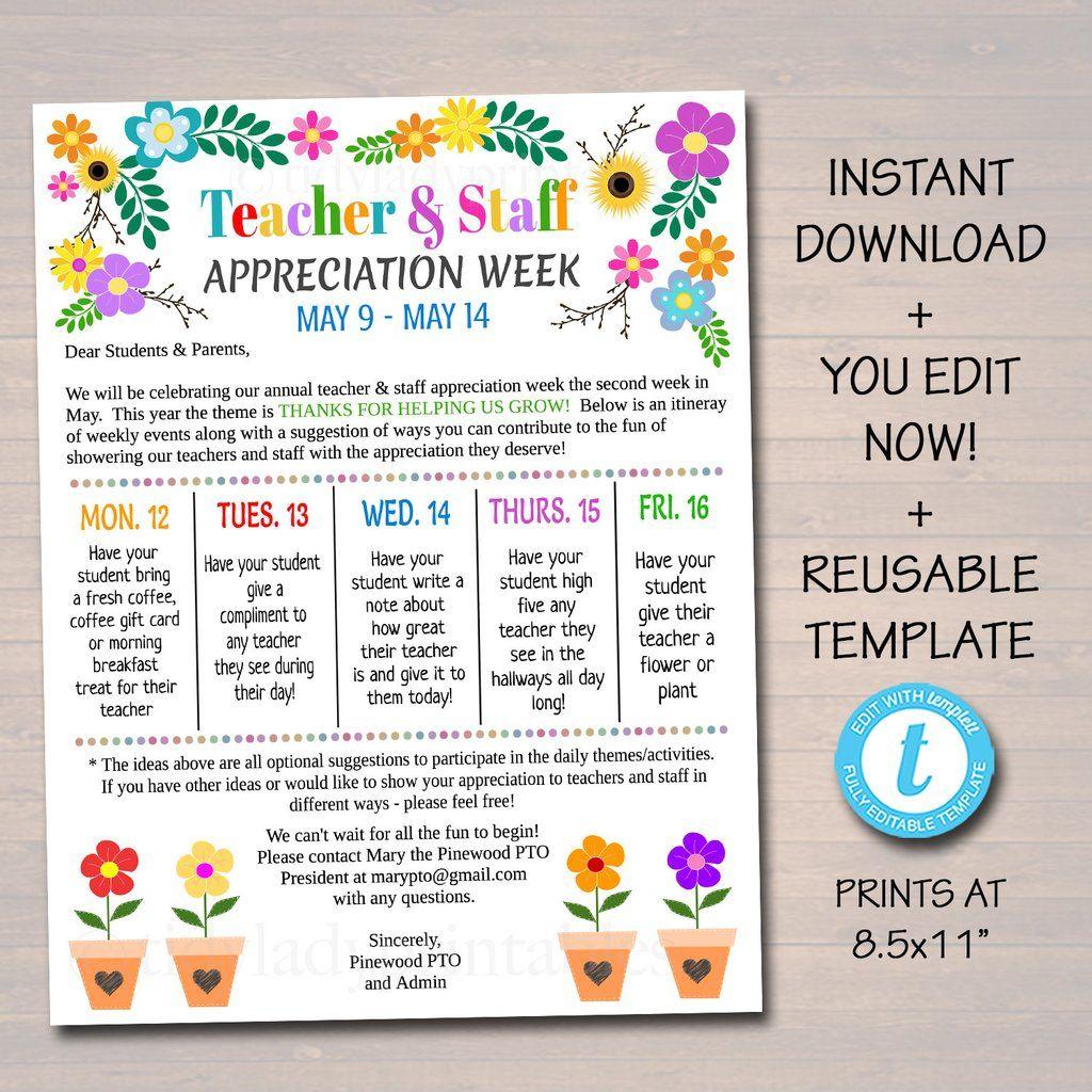 Editable Floral Bloom Theme Teacher Appreciation Invitation Newsletter Printable App Teacher Appreciation Themes Teacher Appreciation Week Teacher Appreciation