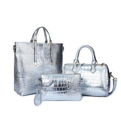 6d0cd5955f7c Luxury Handbag Alligator Crocodile Leather 3 piece Handbag Set ...