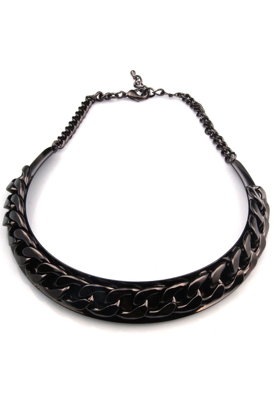 Tugram Curb Chain Plated Silver Statement Necklace in Black - Beyond the Rack
