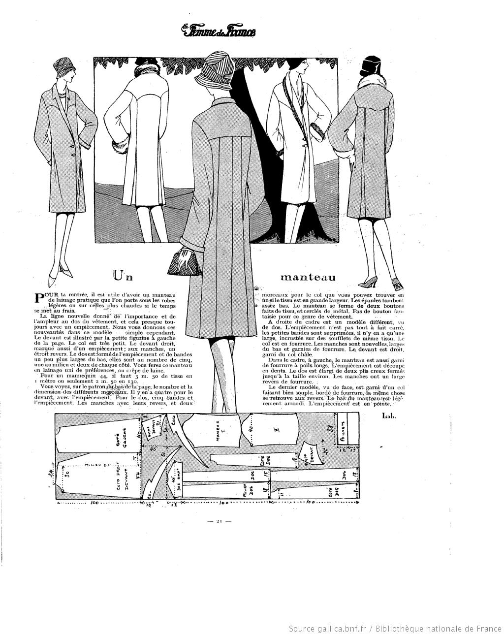 Manteau (La Femme de France 23/09/1928) | Vintage: 1920-1960 ...