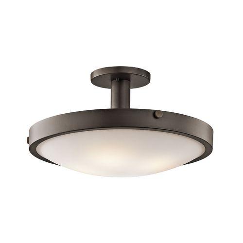 Kichler semi flushmount light with white glass in olde bronze finish 42246oz destination ceiling