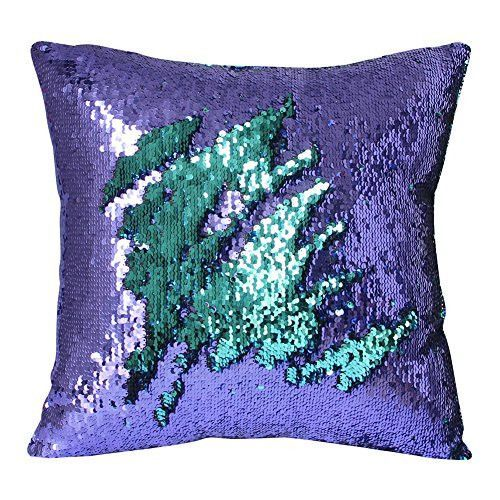 Mermaid Pillow Case Play Tailor Magic Reversible Sequin Pillow Cover Throw Cushion Case 40x40cm Sequin Pillow Mermaid Pillow Pillows