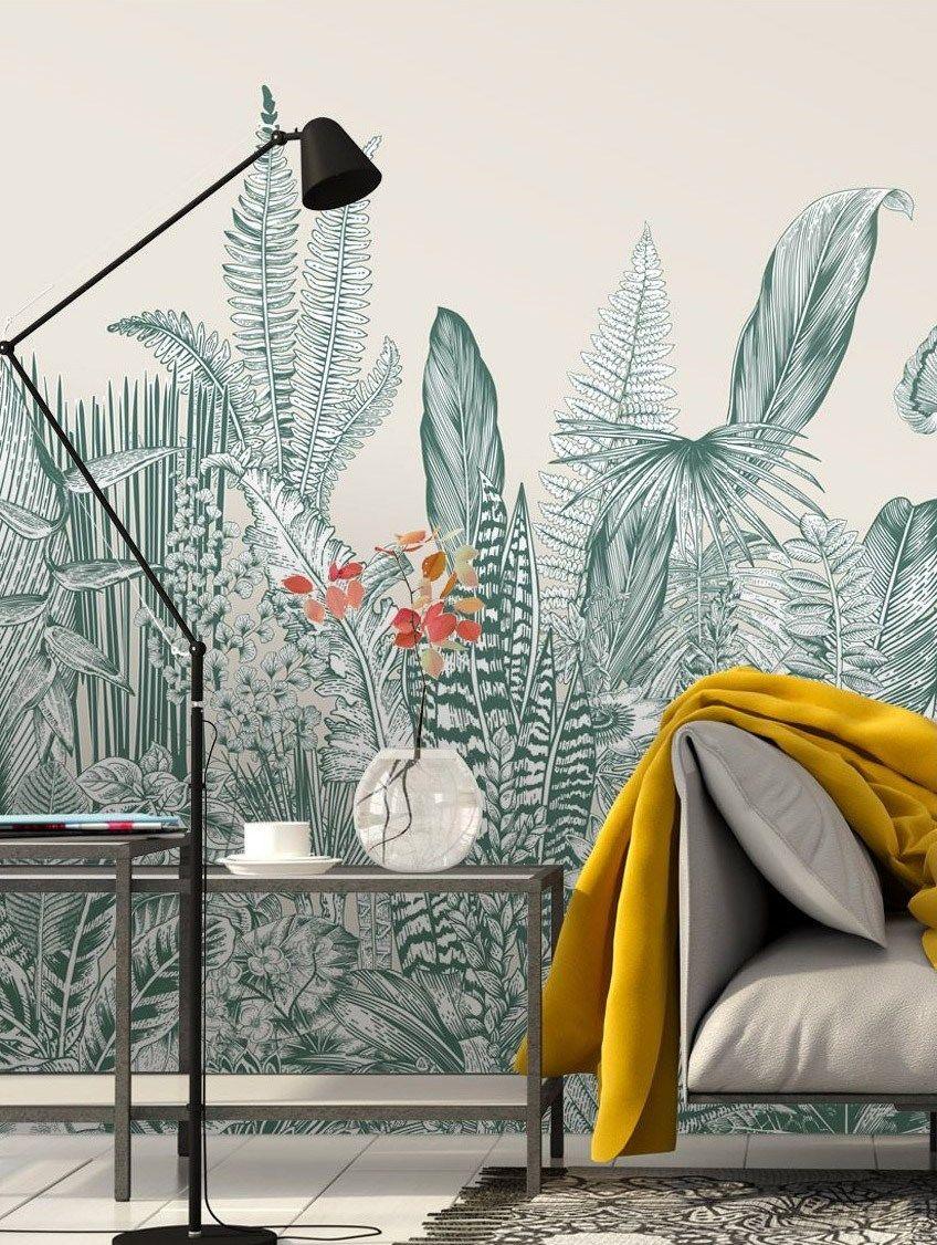 Papier-peint Fresque Botanic – 3 lés Bleu