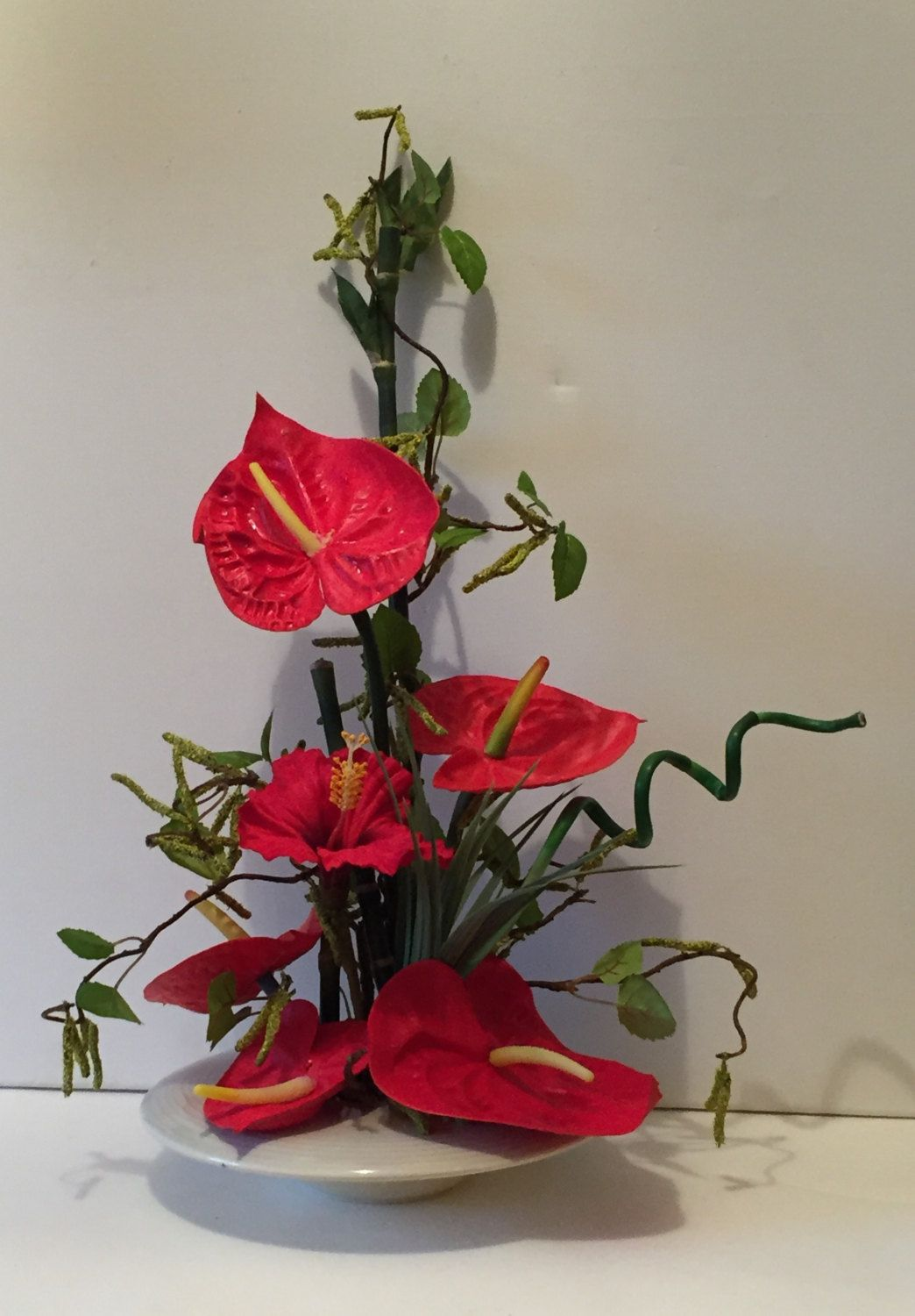 Ikebana oriental silk flower arrangement red antherum hibiscus ikebana oriental silk flower arrangement red antherum hibiscus with bamboo branches and spider grass by craftycrocus on etsy mightylinksfo