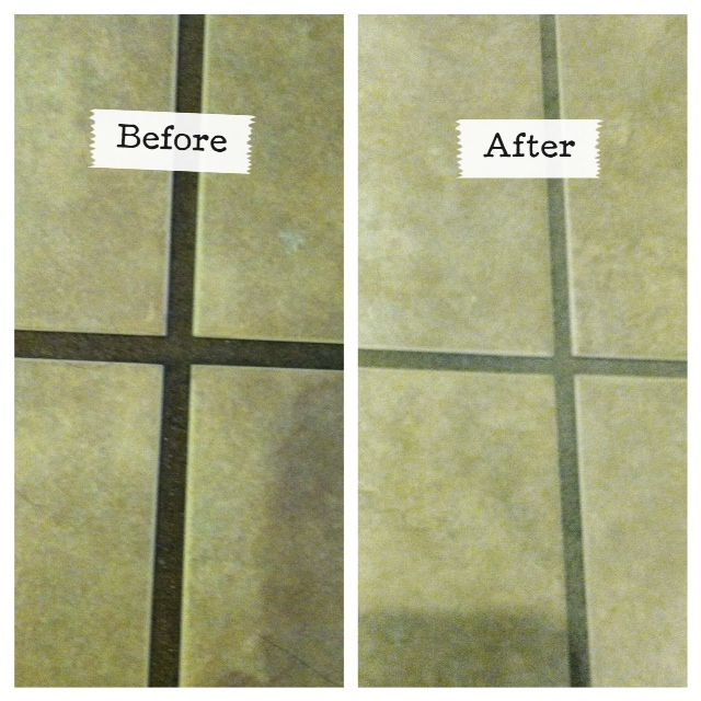 the best way to clean grout ever, cleaning organization, tiling, Before and After using the Grout GrimeBuster 3000