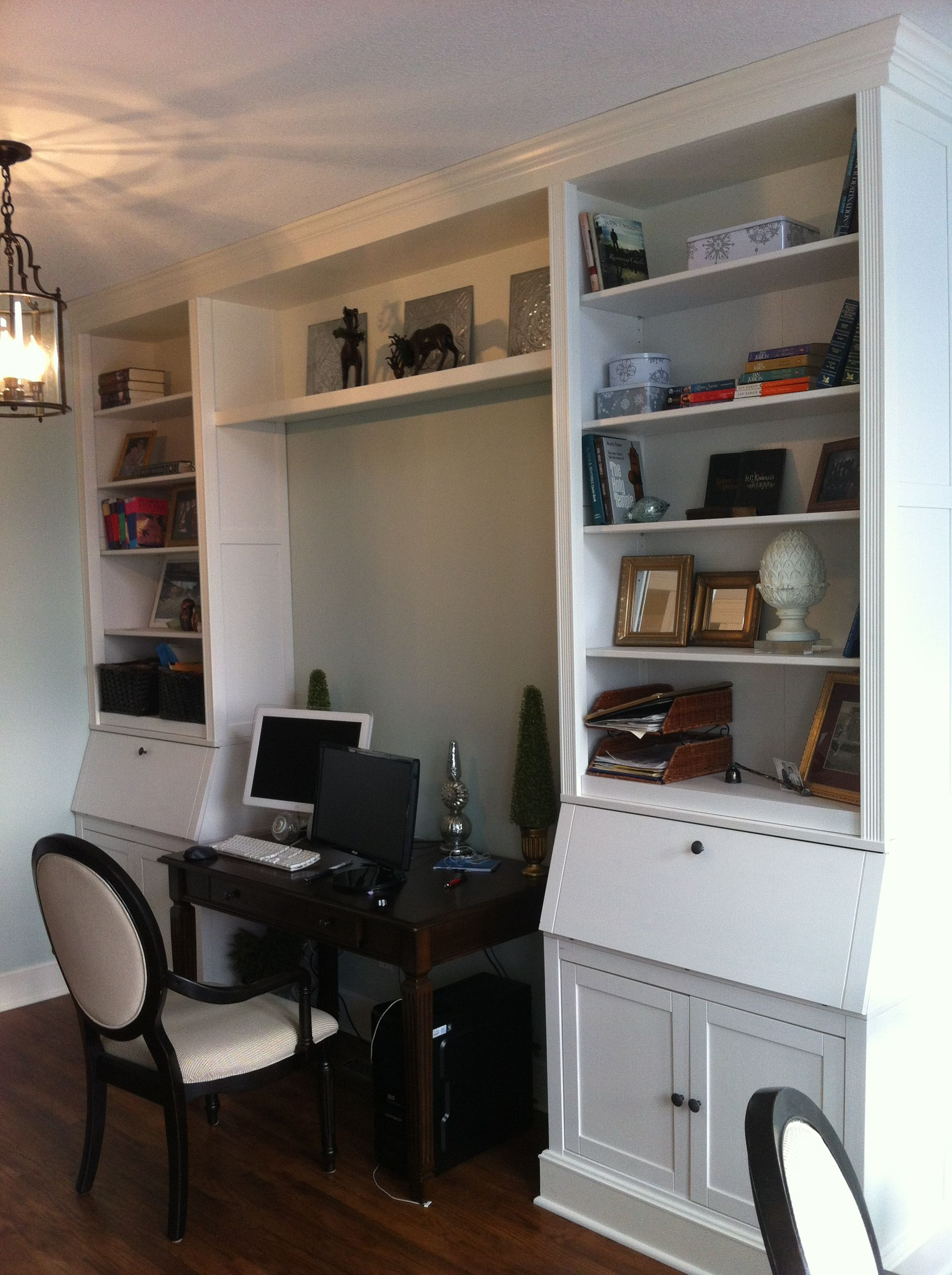 Pin By Ashley On Home Office Living Room Built Ins Home Ikea Hemnes