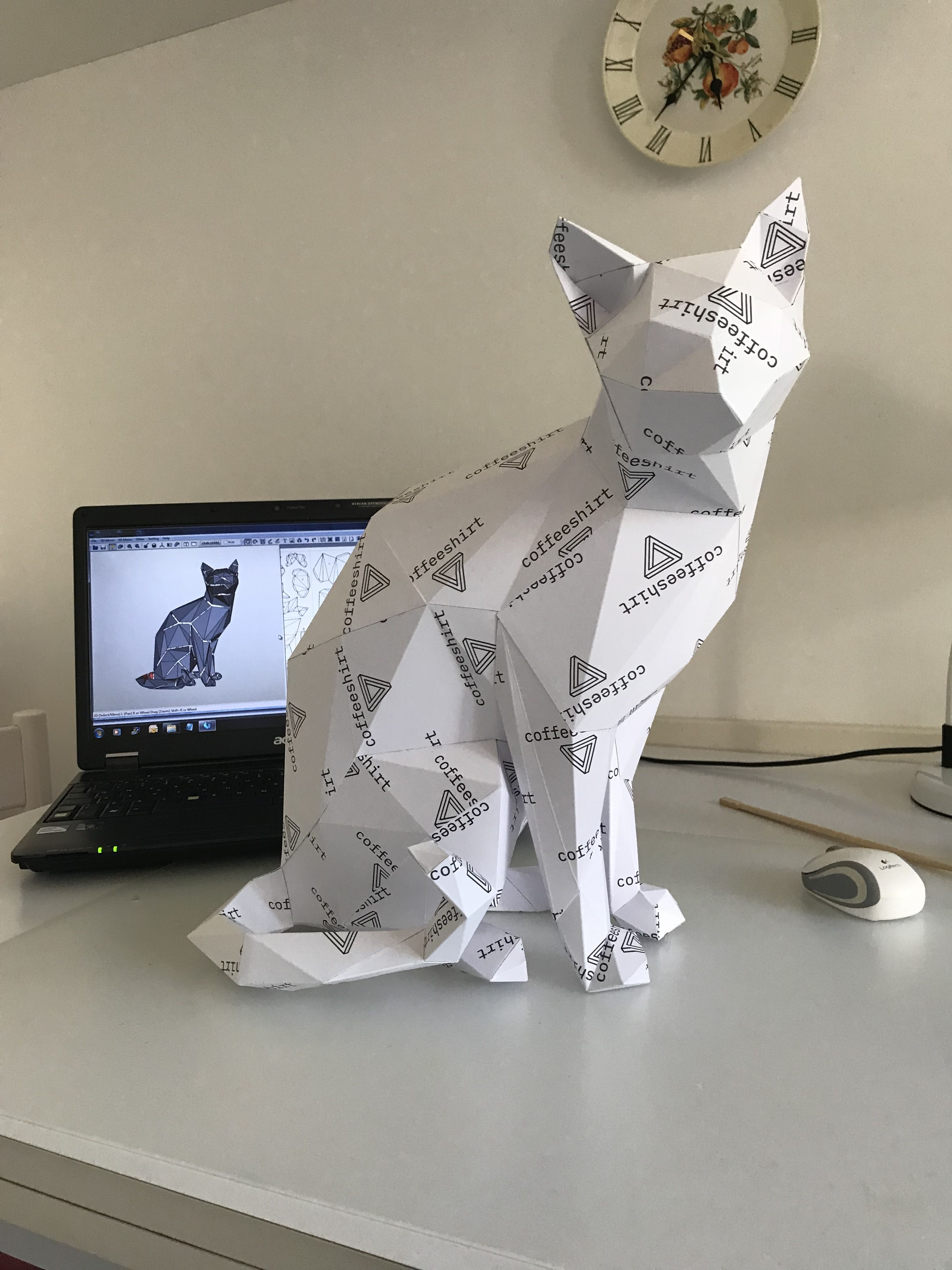 Printable DIY template (PDF). Wise Cat low poly paper