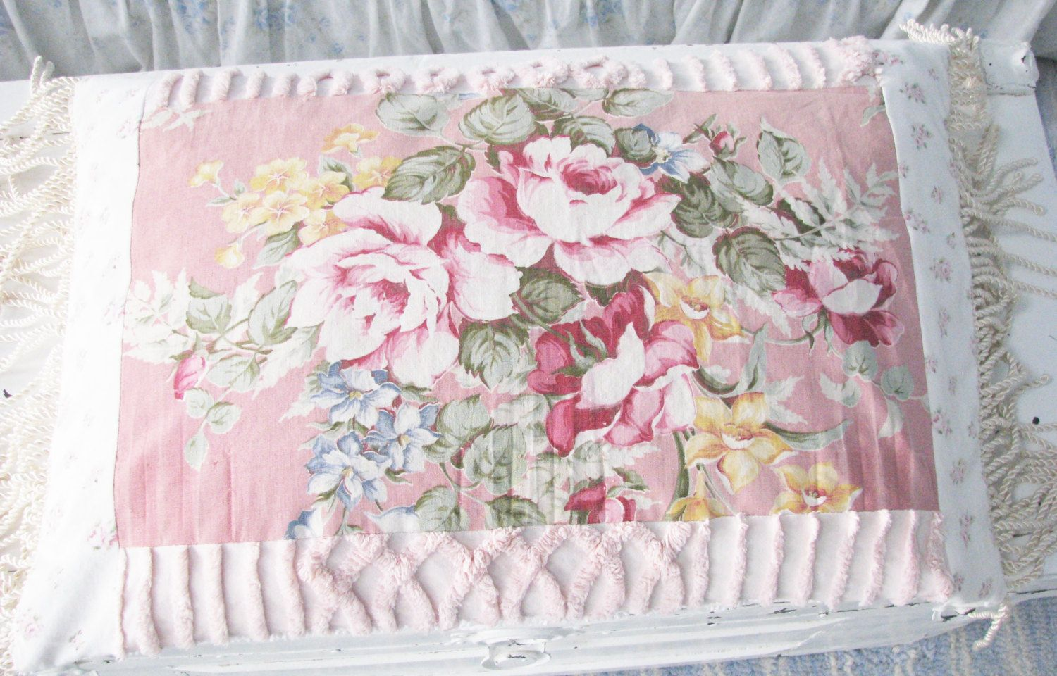 chenille pink white pillows pin sweet pretty shabby feather chic pillow baby vintage