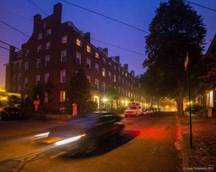 Portland, Maine August 2015 Park Street in the West End at night with row houses. Photo by Corey Templeton.