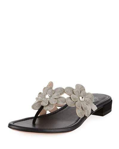 af0c08169 Stuart Weitzman Livewire Floral-Chain Flat Thong Sandal in 2019 ...