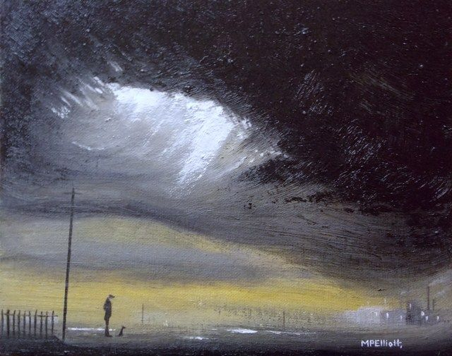M P Elliott Nothern Artist oil painting entitled 'An evening walk...' influenced by L S Lowry and Theodore Major and the landscapes of Manchester, Lancashire and other Northern towns.