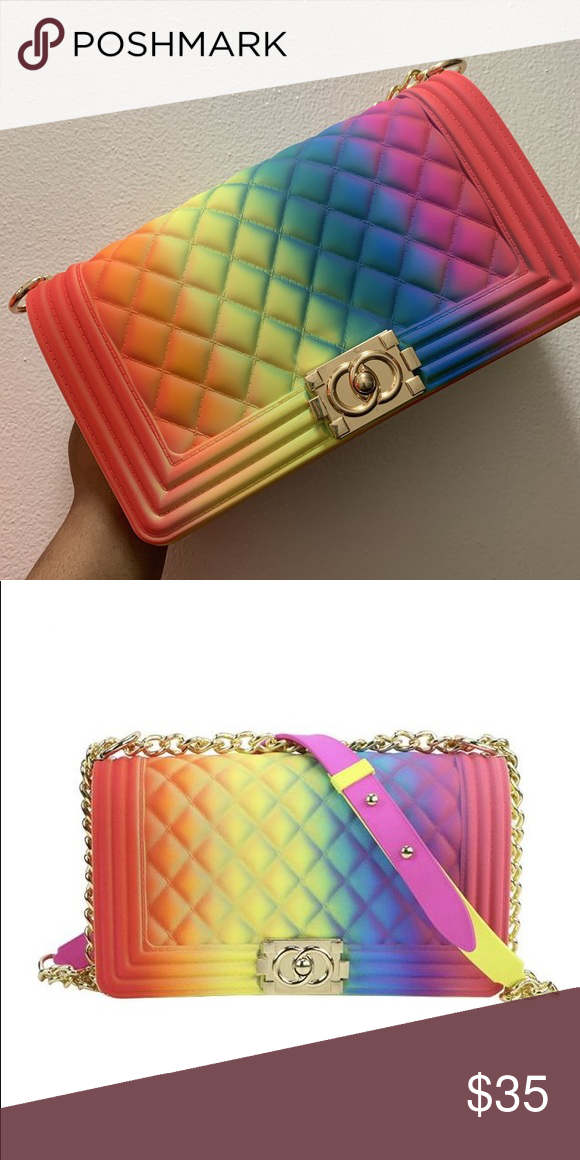 rainbow jelly purse nwt pre order shipping and processing 7 14 days bags crossbody bags jelly purse rainbow jelly purses rainbow jelly purse nwt pre order