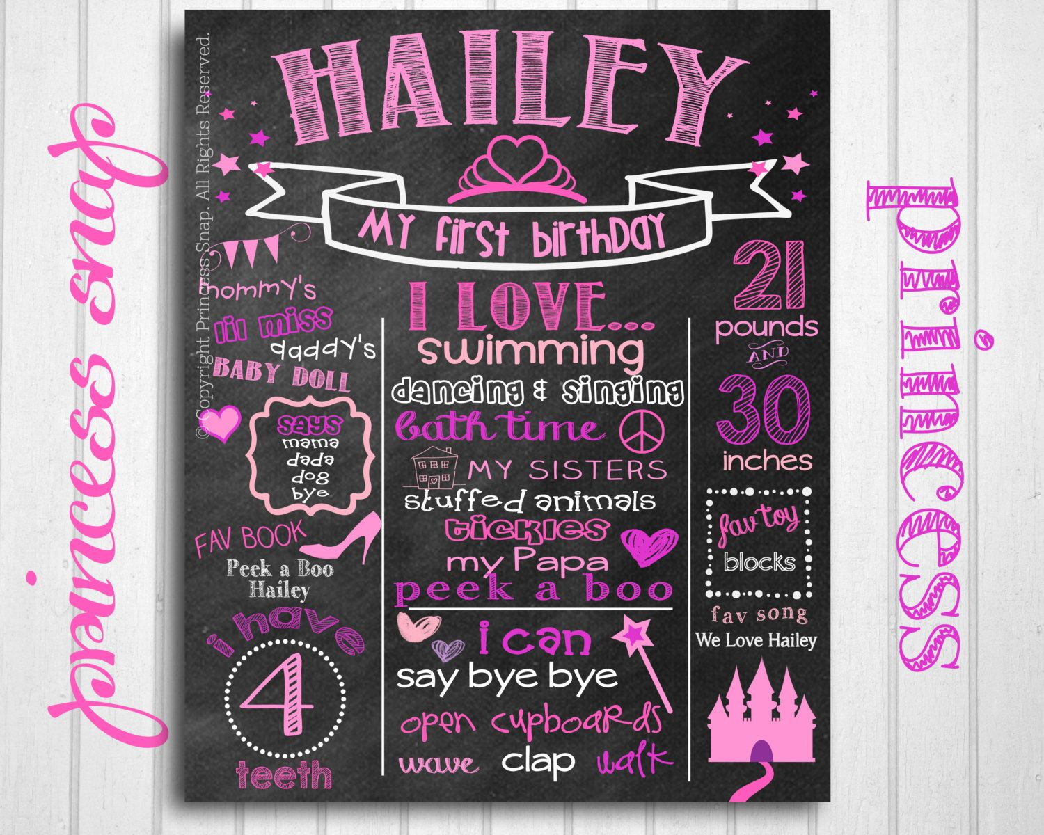 invitation words forst birthday party%0A Princess First Birthday Chalkboard  Royal  st Birthday Chalk Board Photo  Prop Birthday Party Printable File  Princess