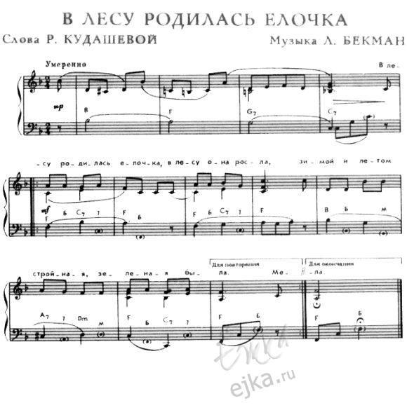 в лесу родилась елочка   Песни укулеле, Ноты, Фортепиано ноты