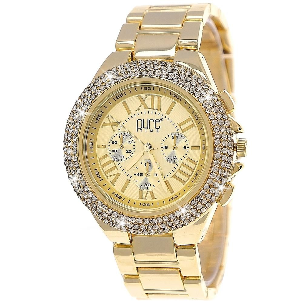Wunderschöne Designer Strass Damen-Armbanduhr!  Viel Spaß mit dieser zauberhaften und außergewöhnlichen Uhr.  Das Gehäuse ist aus Edelstahl und das Armband aus edlem Metall gefertigt  Modernes Zifferblatt mit Logoimprint Mit funkelnden Strasssteinen besetzt Stunden-, Minuten-, und Sekundenzeiger Die 3 Chronographen haben keine Funktion! präzises, japanisches Quartzuhrwerk Stabiles gehärtetes Uhrenglas einfacher Verschluß per Faltschließe Inklusive Uhren Geschenkbox!