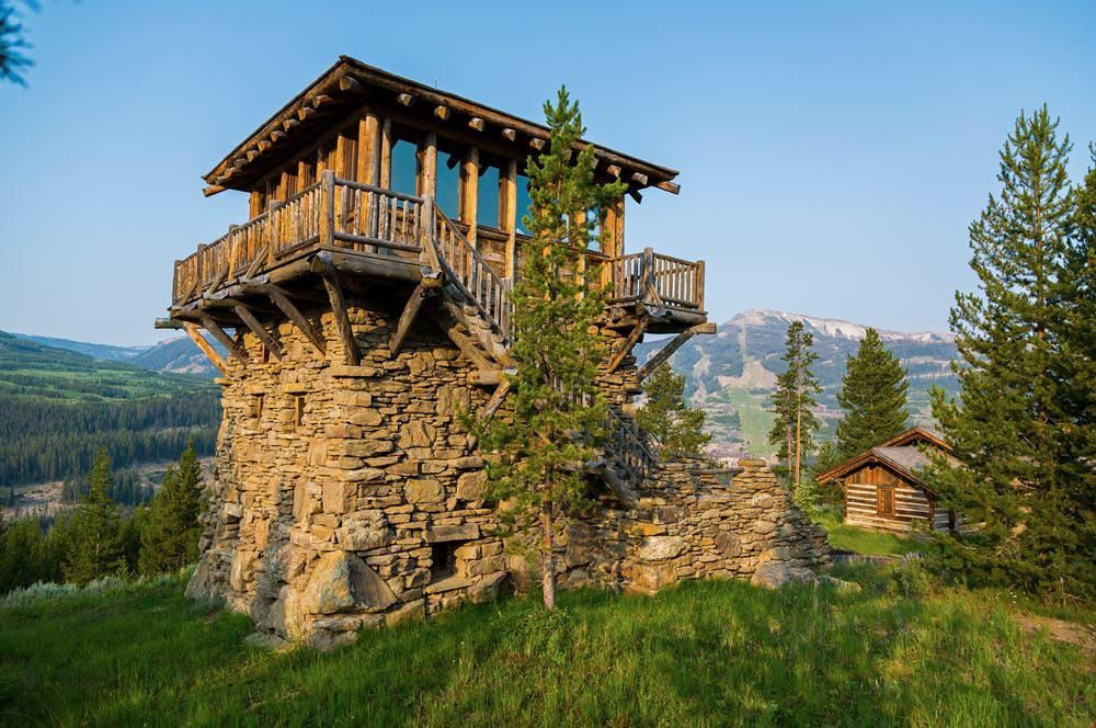 Rustic fire lookout cabin Facade design, Architecture