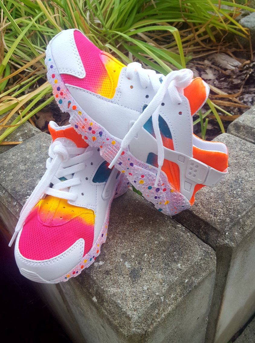d056207469b0f Custom Nike Huarache Rainbow by MrPerfekKix on Etsy https   www.etsy.