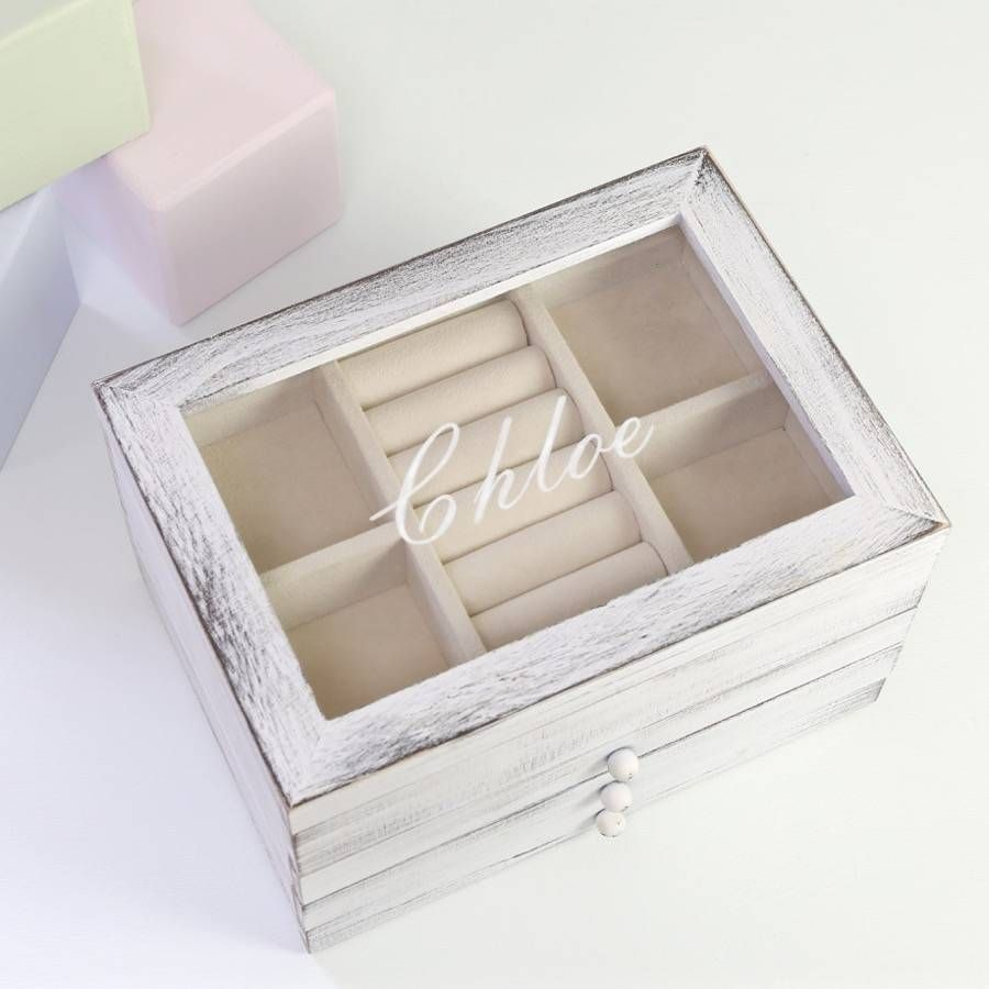 Personalised Wooden Jewellery Box With Drawers Engagement Presents