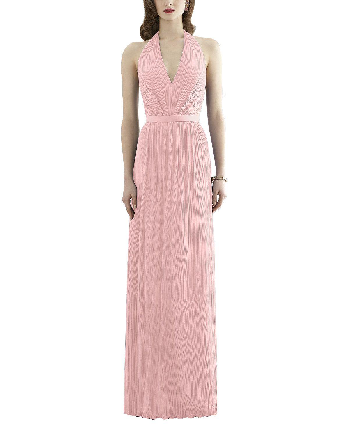 DescriptionDessy Collection2941Fulllength bridesmaid dressHalter necklineMatching matte satin 1